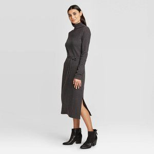 A New Day Mock Turtleneck Belted Knit Midi Dress